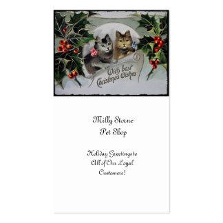 Gatinhos no Natal do azevinho Cartão De Visita