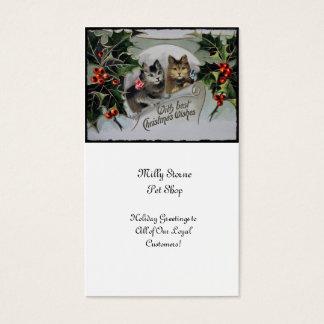 Gatinhos no Natal do azevinho Cartão De Visitas