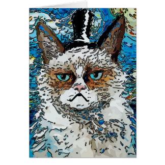 Gato abstrato no chapéu alto cartão comemorativo