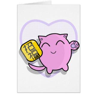 gato afortunado japonês bonito - rosa cartões