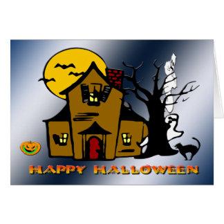 Gato assombrado do fantasma da casa cartão
