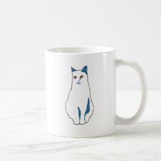 Gato Branco-Azul Caneca De Café