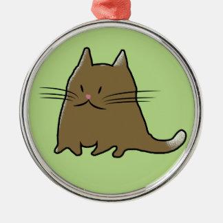 Gato carnudo gordo do gatinho ornamento redondo cor prata