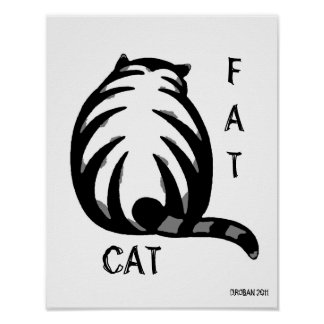 Gato-Cinzento & preto gordos Pôsteres