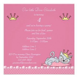 Gato cor-de-rosa bonito do gatinho da diva da fest convite personalizados