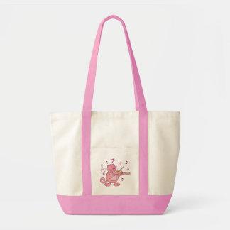 Gato cor-de-rosa com violino bolsa tote