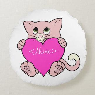Gato cor-de-rosa do dia dos namorados com coração almofada redonda