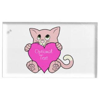 Gato cor-de-rosa do dia dos namorados com coração suportes para cartões de mesas