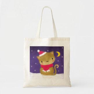 Gato cor-de-rosa roxo do Natal bonito do ♥ do SACO Sacola Tote Budget