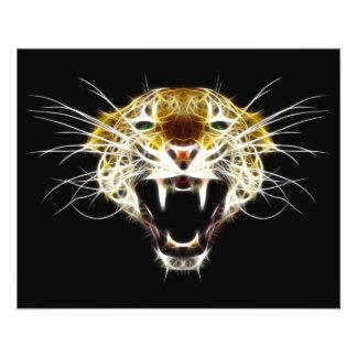 Gato da cabeça do leopardo rujir panfletos coloridos
