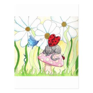 Gato da fada do joaninha cartão postal