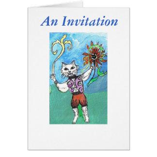 Gato da flor do hippy, um convite