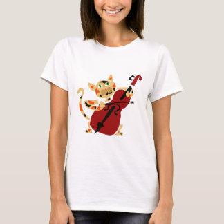 Gato de chita engraçado que joga desenhos animados t-shirts