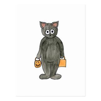 Gato do Dia das Bruxas Cartao Postal