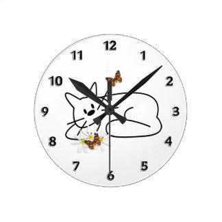 Gato do Doodle Relógios Para Paredes