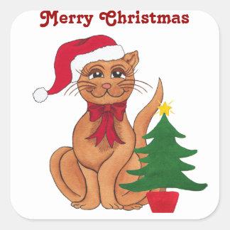 Gato do Feliz Natal e árvore - Sitcker Adesivo Quadrado