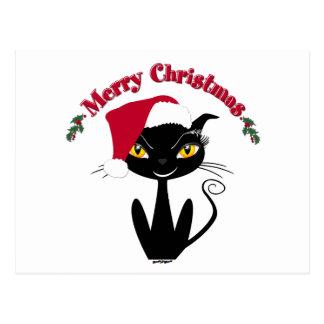Gato do gatinho do Feliz Natal Cartão Postal