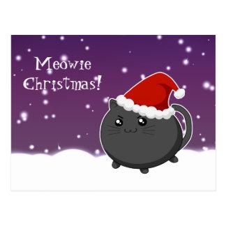 Gato do gatinho do preto do Natal de Kawaii Cartão Postal