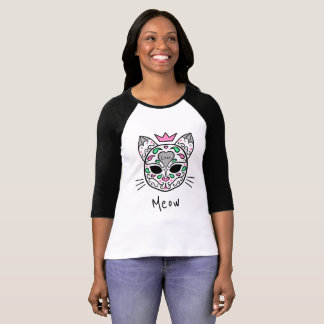 Gato do meow do crânio do açúcar do amor tshirts