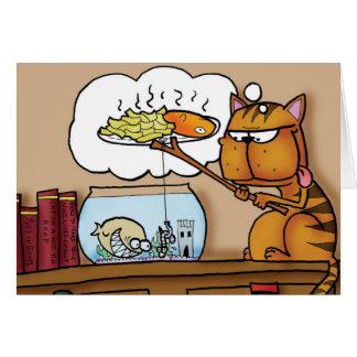 Gato do peixe com batatas fritas cartão