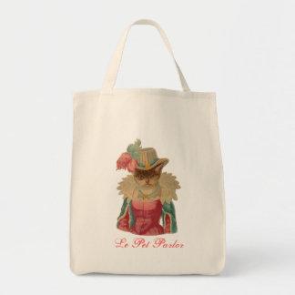 Gato Dressy do vintage Sacola Tote De Mercado