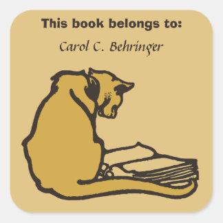 Gato e livro, bookplate do vintage customizável adesivo quadrado