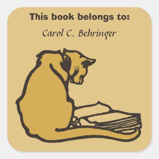 Gato e livro, bookplate do vintage customizável adesivo