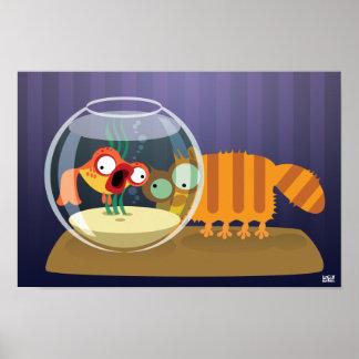 Gato e peixes engraçados impressão