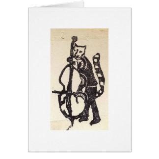 Gato e violoncelo cartão