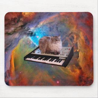 Gato em um teclado no espaço mouse pad