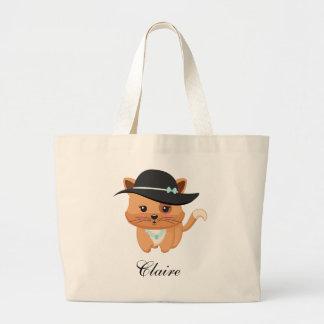 Gato extravagante com chapéu bolsa tote grande