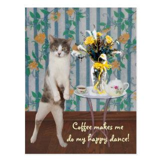 Gato/gatinho customizáveis engraçados do café cartoes postais