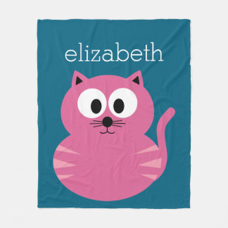 Gato gordo cor-de-rosa bonito - fundo azul cobertor de lã