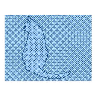 Gato japonês - impressão azul do quimono cartão postal