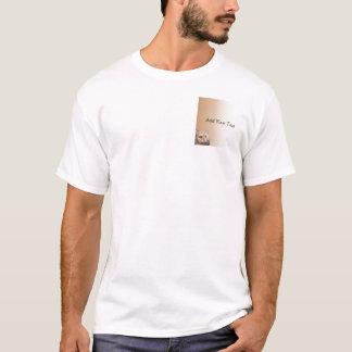 Gato louro com os olhos do topázio na beira da camisetas