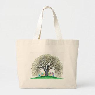 Gato lunático de Boston no saco da árvore Bolsa Tote Grande
