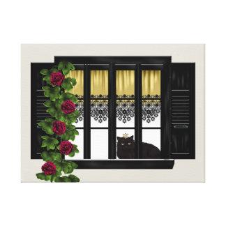 Gato na janela impressão em tela