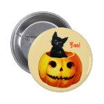 Gato no botão do Dia das Bruxas do vintage da abób Boton