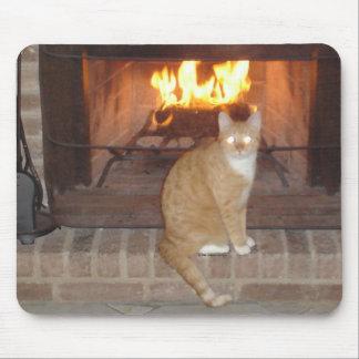 Gato pela lareira mousepad