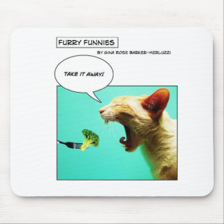Gato peludo e brócolos do ~ de Funnies Mouse Pad