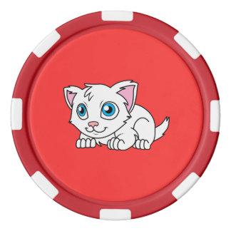 Gato persa branco bonito feliz com olhos azuis ficha de pôquer