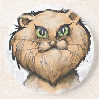 Gato persa porta-copos de arenito