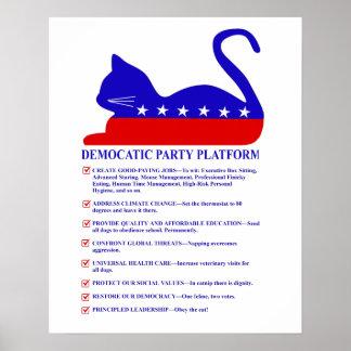 Gato político engraçado da plataforma do partido poster
