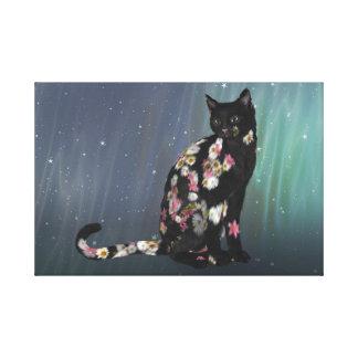 Gato preto acolhedor da margarida impressão em tela
