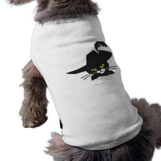 Gato preto camisa sem mangas para cachorro