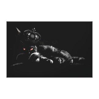Gato preto impressão de canvas esticadas