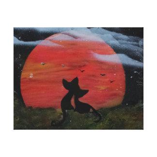 Gato preto com Lua cheia o Dia das Bruxas da queda Impressão De Canvas Esticada