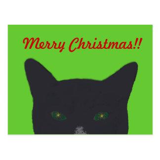 """Gato preto com verde, """"Feliz Natal vermelho """" Cartão Postal"""