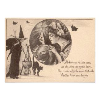 Gato preto da bruxa da lanterna de Jack O da Convite 12.7 X 17.78cm