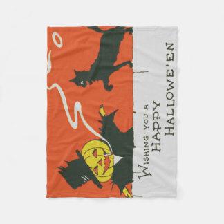 Gato preto de fumo da lanterna de Jack O do Cobertor De Lã